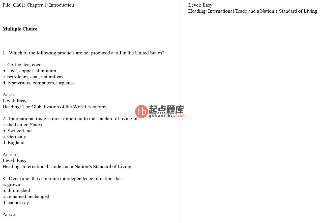 test bank for International Economics 12th Edition的图片 3
