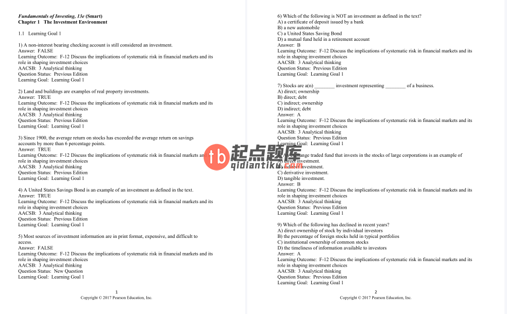test bank for Fundamentals of Investing 13th Edition的图片 3