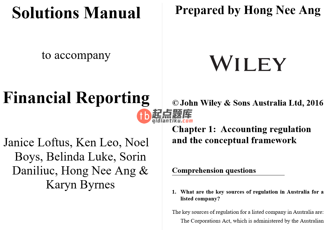 solution manual for Financial Reporting by Janice Loftus的图片 3