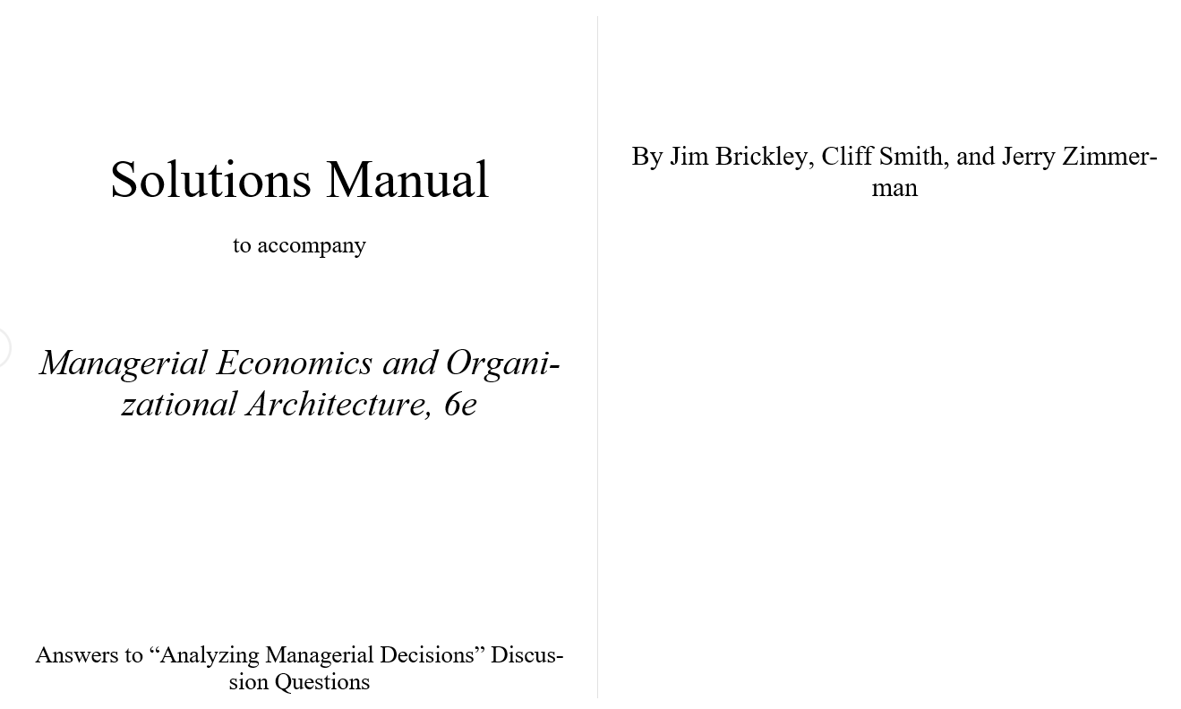 solution manual for Managerial Economics and Organizational Architecture 6th Edition的图片 2