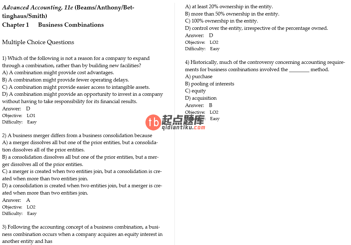 test bank for Advanced Accounting 11th Edition的图片 3