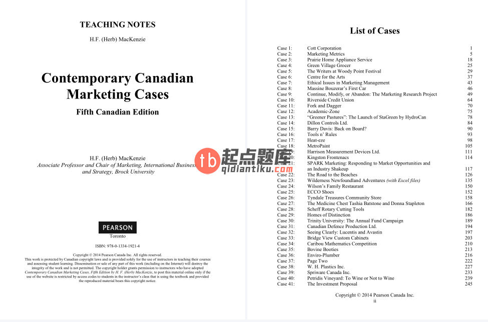 solution manual for Contemporary Canadian Marketing Cases 5th Edition的图片 3