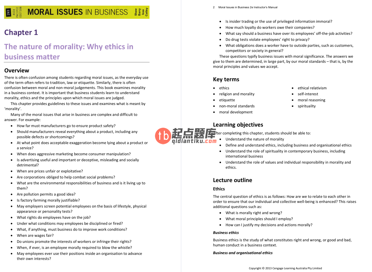 solution manual for Moral Issues in Business: 2nd Asia Pacific Edition的图片 3