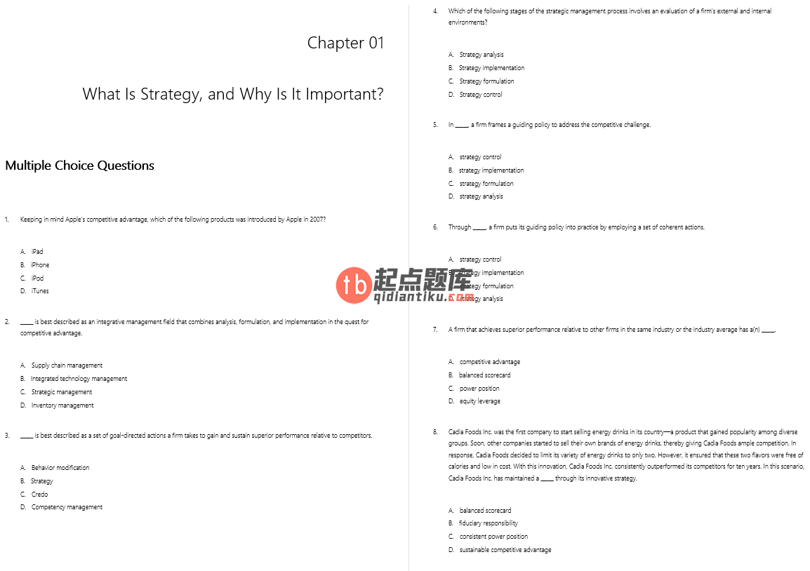 test bank for Strategic Management: Concepts 2nd Edition的图片 3