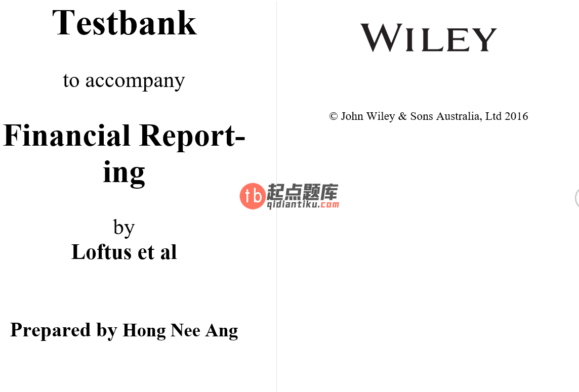 test bank for Financial Reporting by Janice Loftus的图片 3