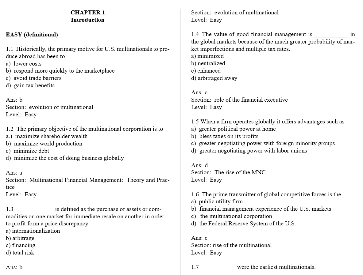 test bank for Multinational Financial Management 10th Edition的图片 3