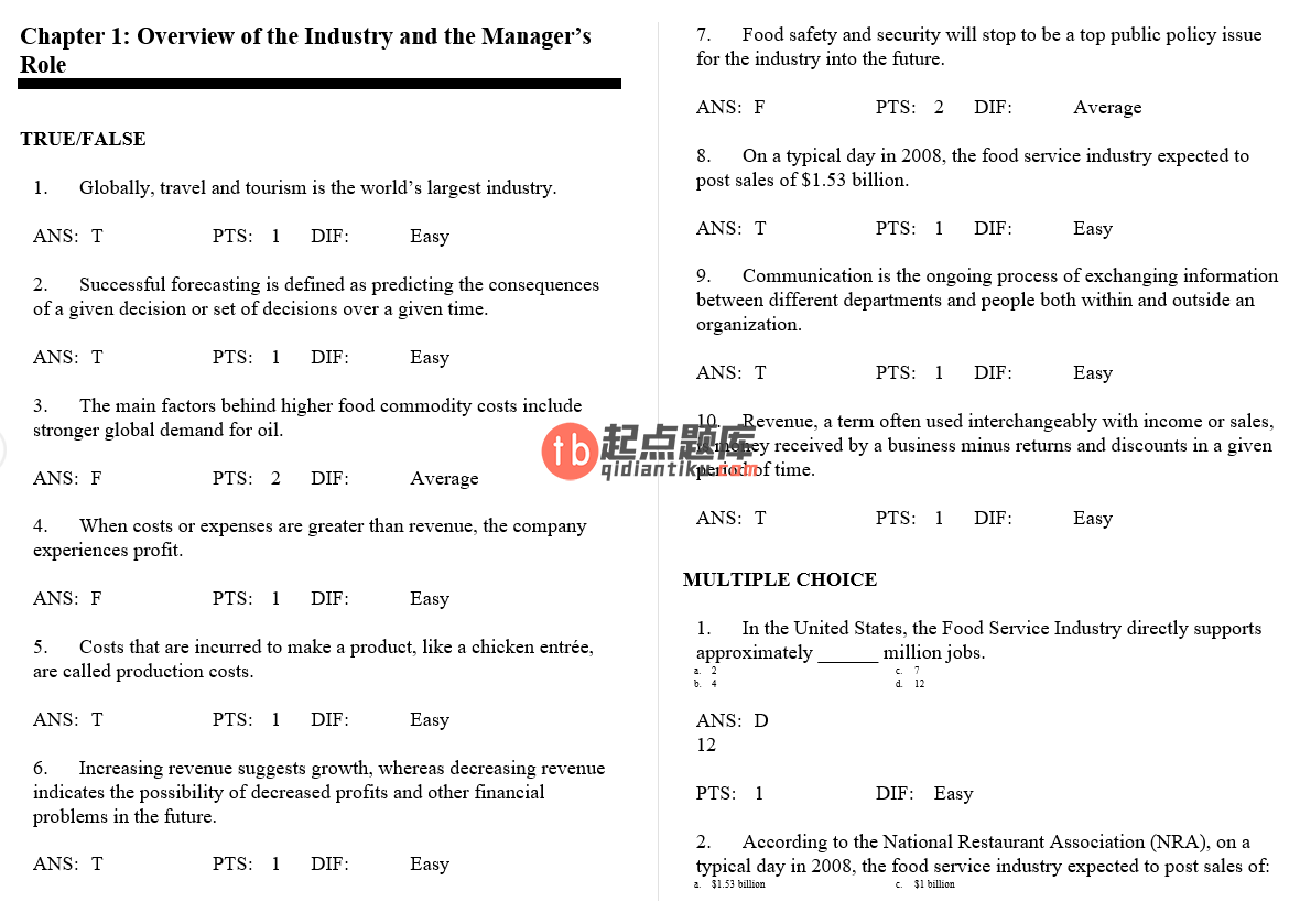test bank for Practical Food and Beverage Cost Control 2nd Edition的图片 3