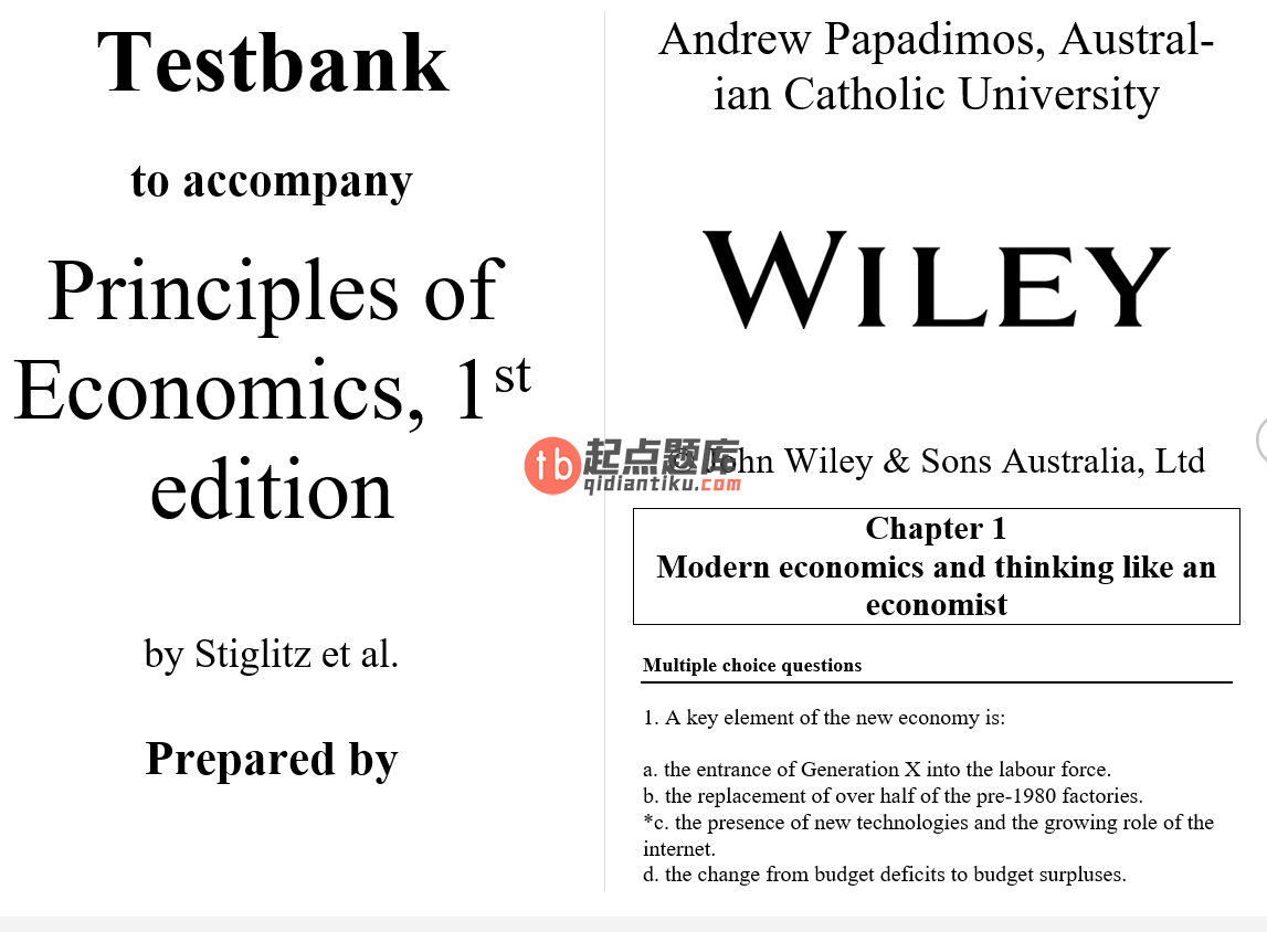 test bank for Principles of economics 1st Australian edition的图片 3