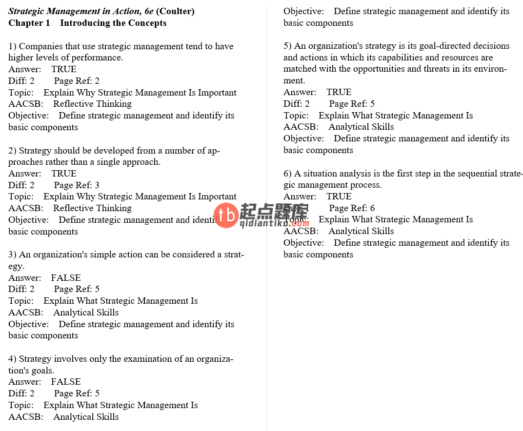 test bank for Strategic Management in Action 6th Edition的图片 3
