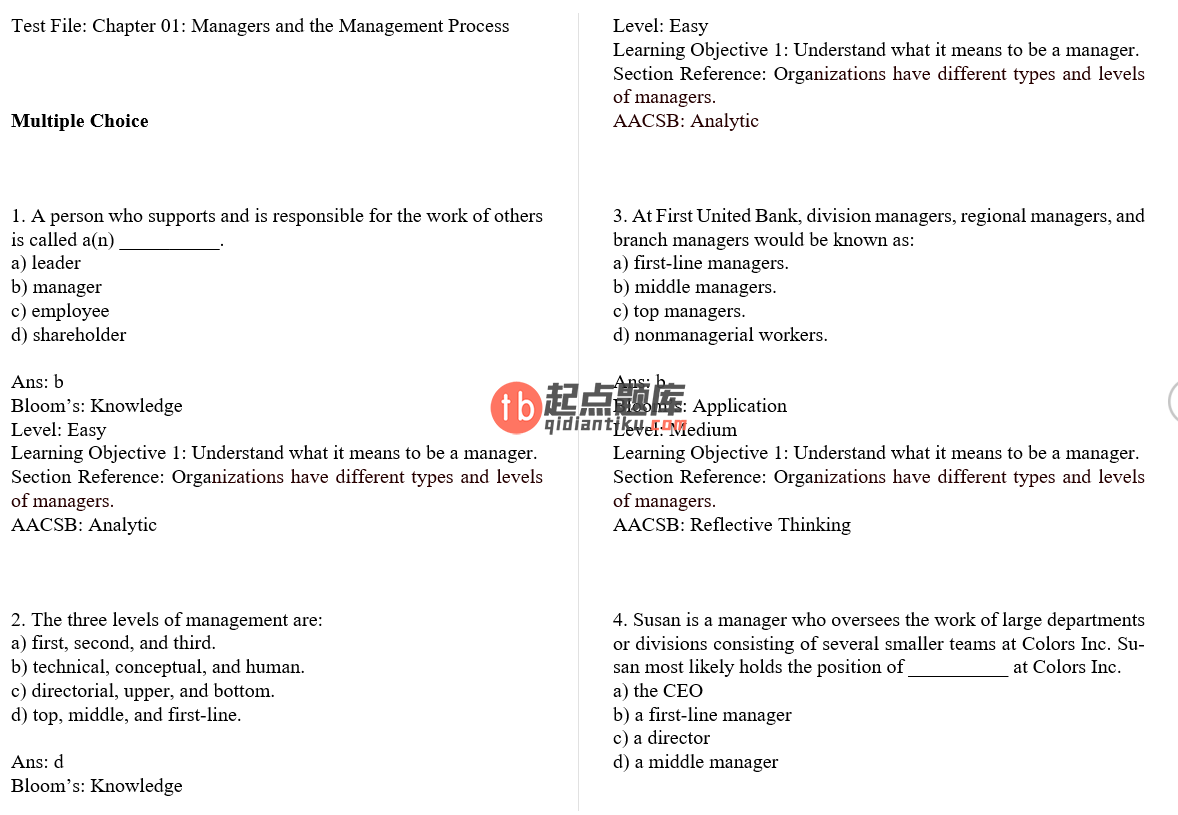 test bank for Exploring Management Binder Ready Version 5th edition的图片 3