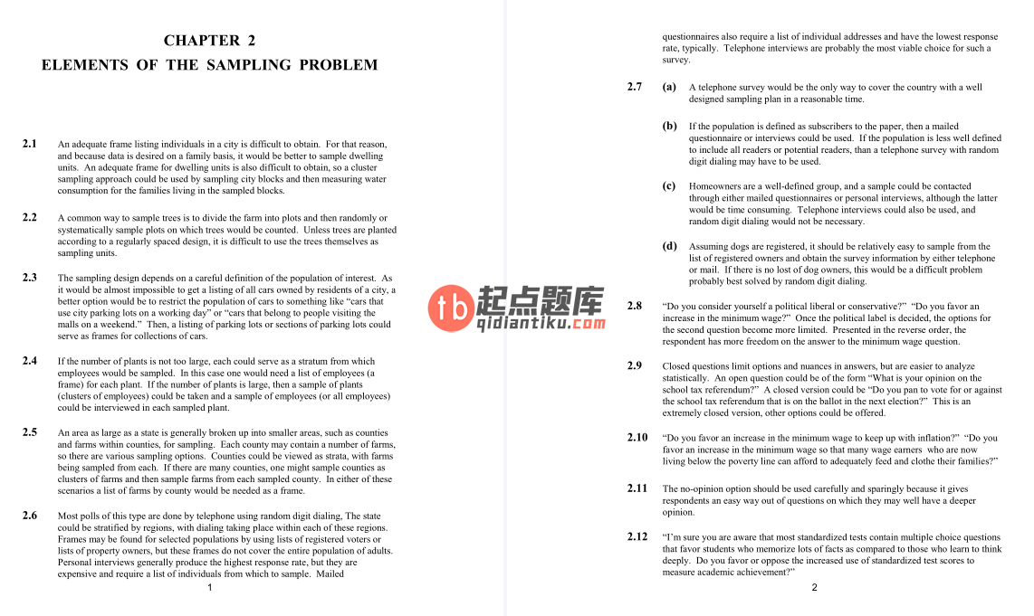 solution manual for Elementary Survey Sampling 7th edition的图片 2