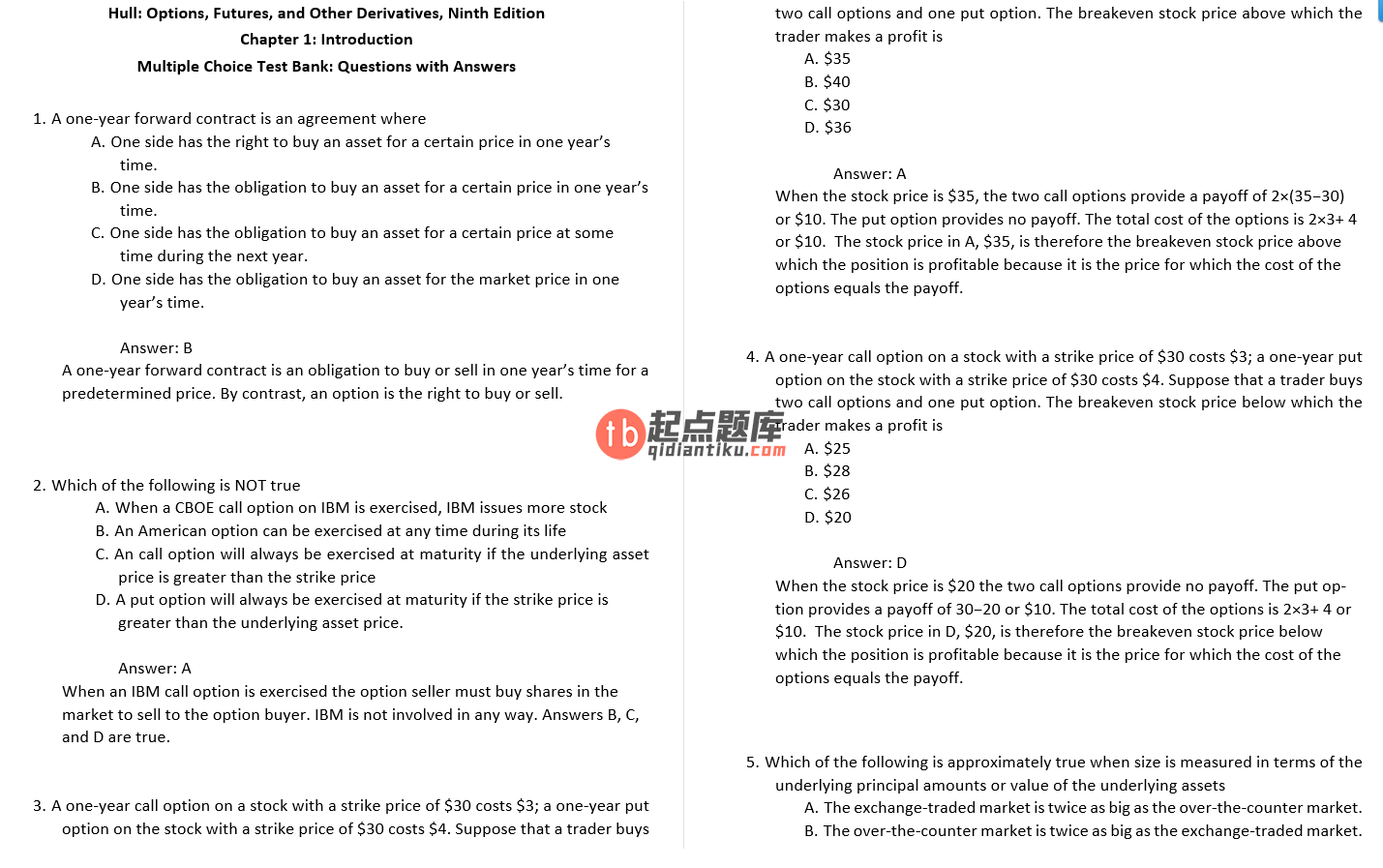 test bank for Options, Futures, and Other Derivatives 9th Edition的图片 3
