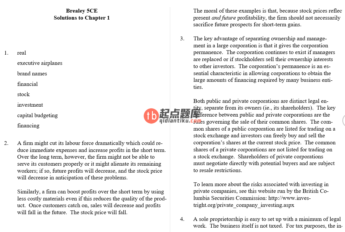 solution manual for Fundamentals of Corporate Finance 5th Canadian edition的图片 4