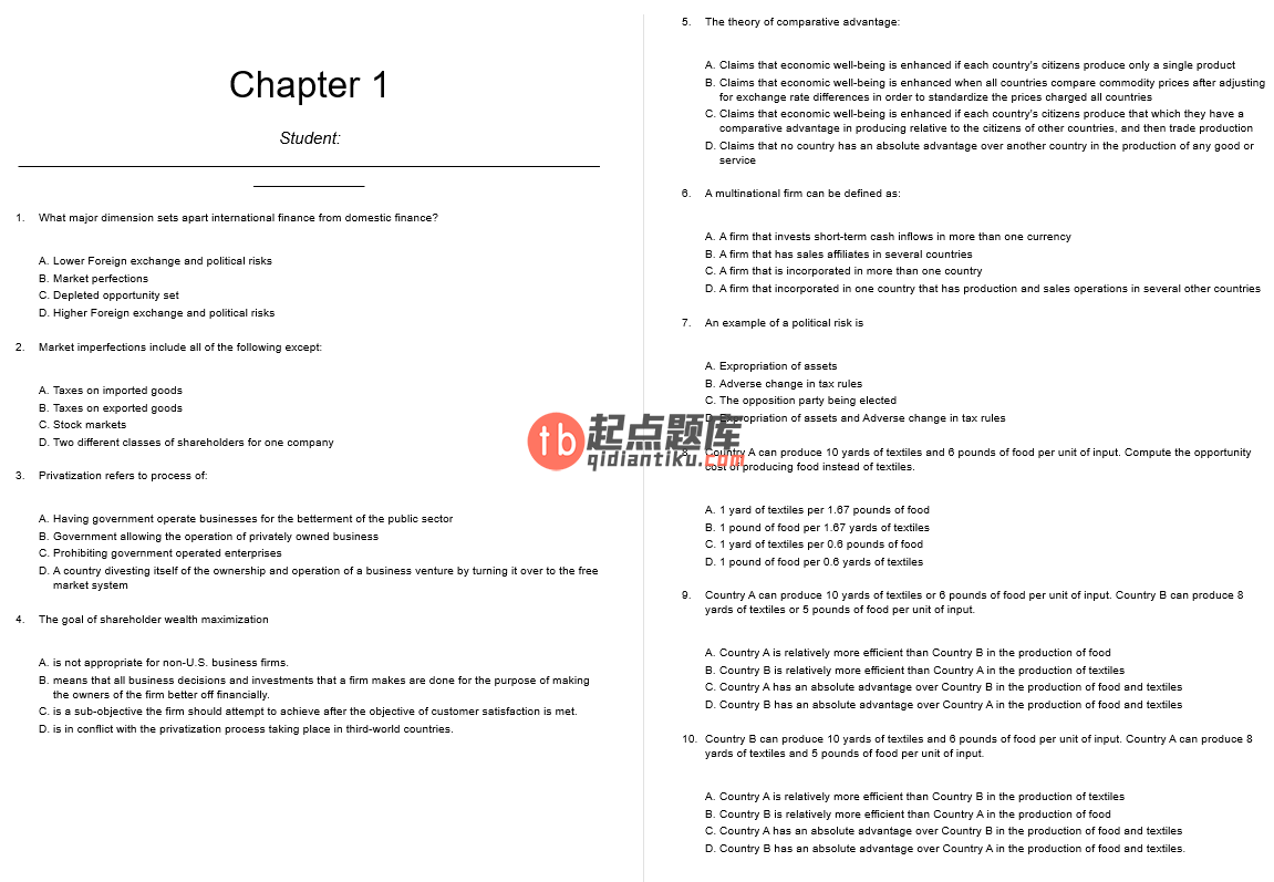 test bank for International Financial Management: Canadian Perspective 3rd edition的图片 3