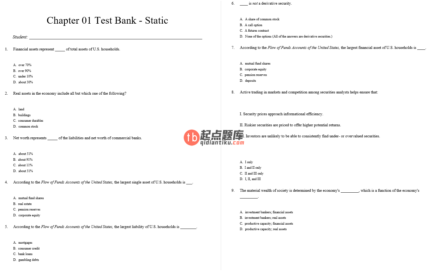 test bank for Essentials of Investments 10th Edition的图片 3
