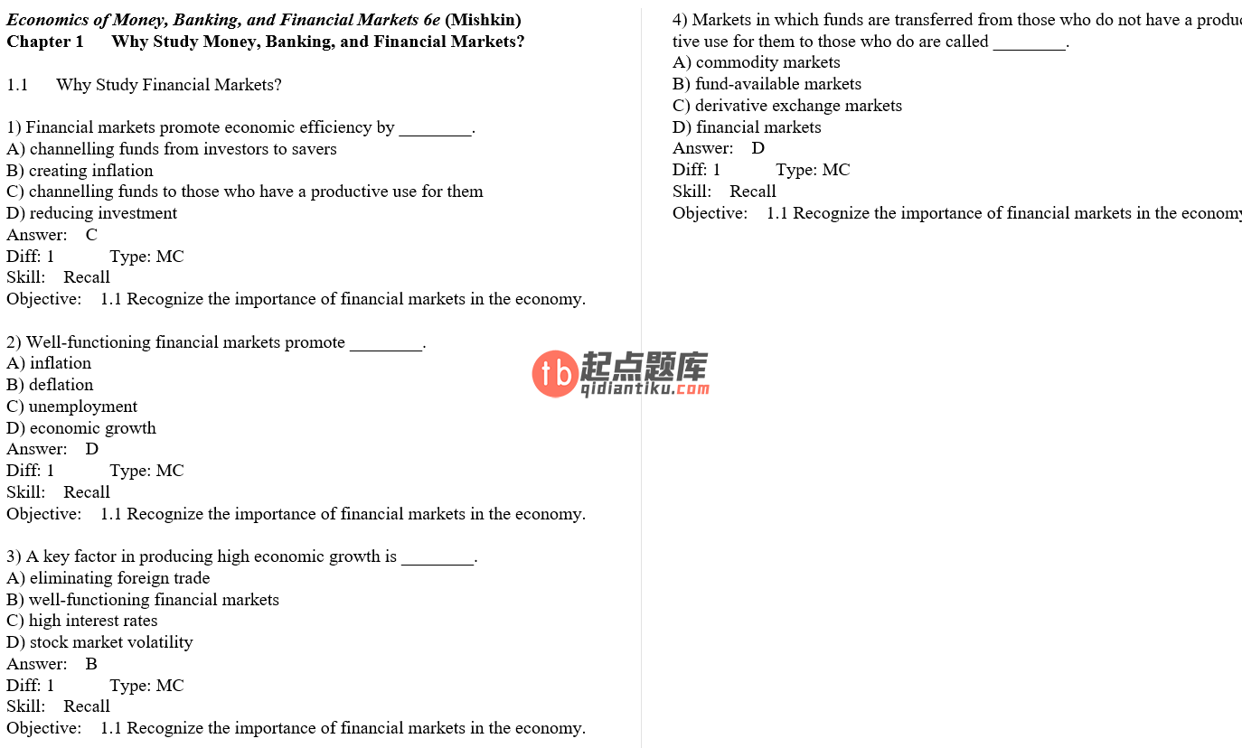 test bank for The Economics of Money Banking and Financial Markets 6th Canadian Edition的图片 3