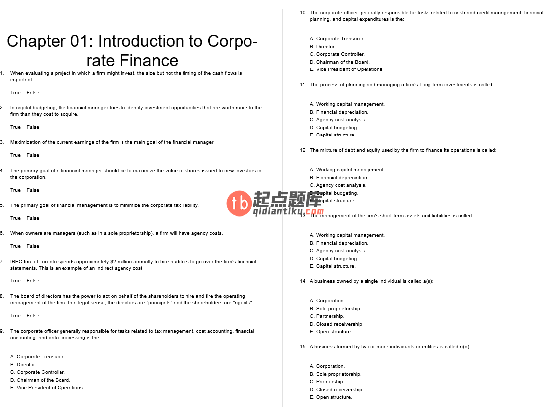 test bank for Fundamentals of Corporate Finance 8th Canadian Edition的图片 3