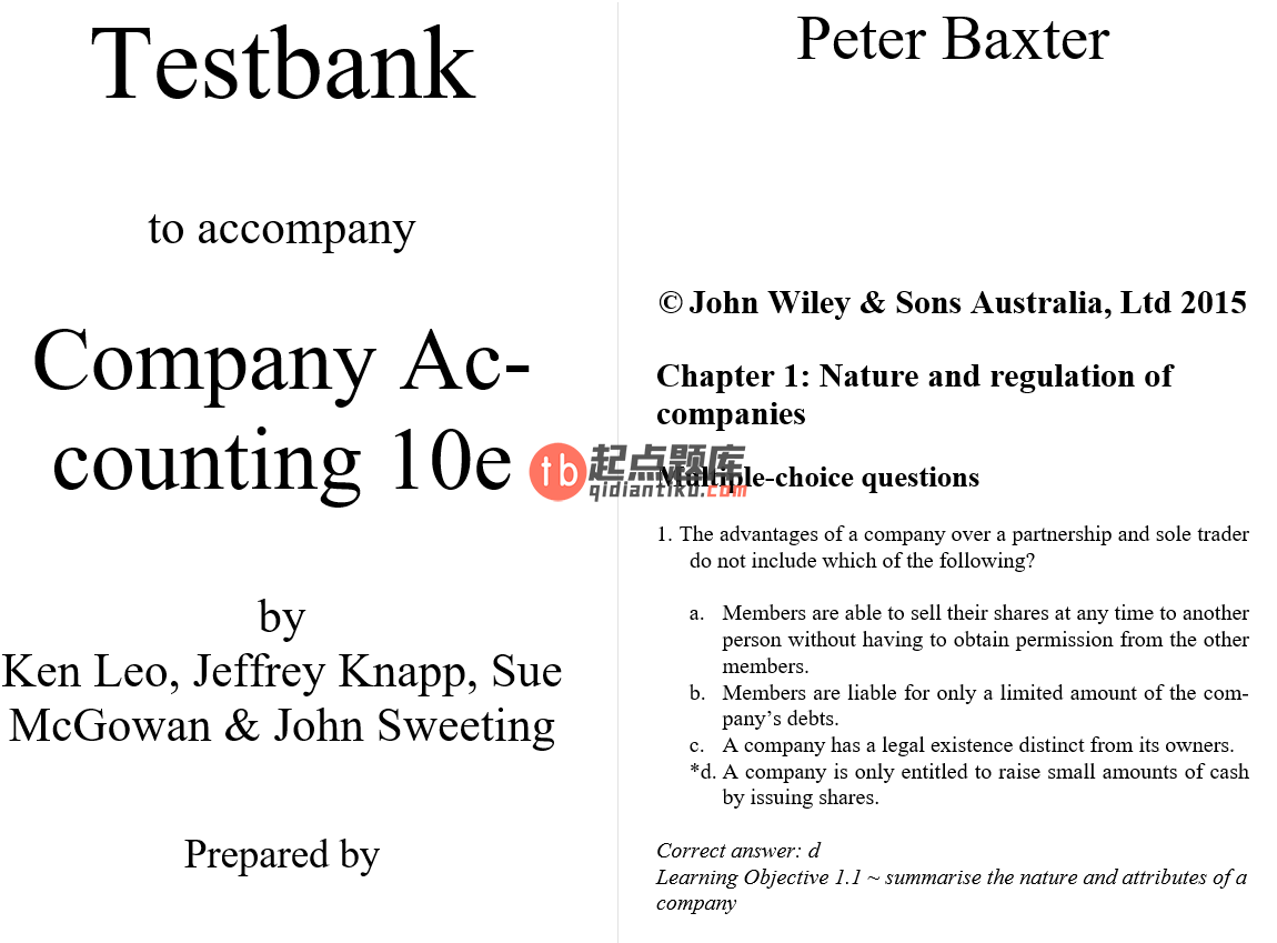 test bank for Company Accounting 10th Edition的图片 3