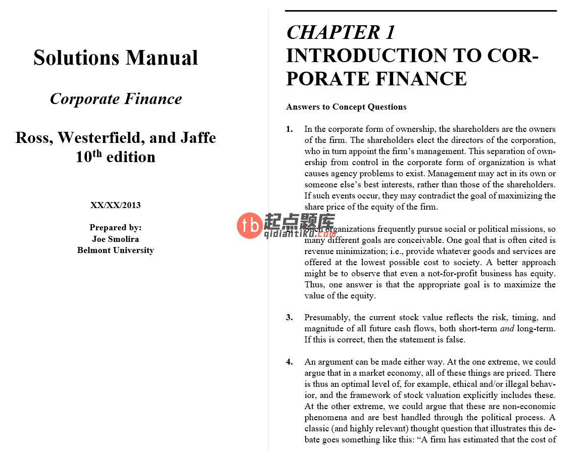 solution manual for Corporate Finance 10th Edition的图片 3