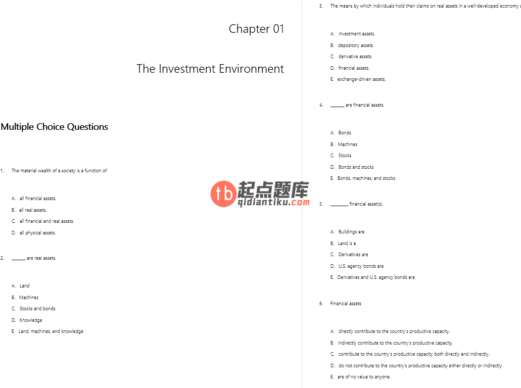 test bank for Investments Asia Global Edition的图片 3