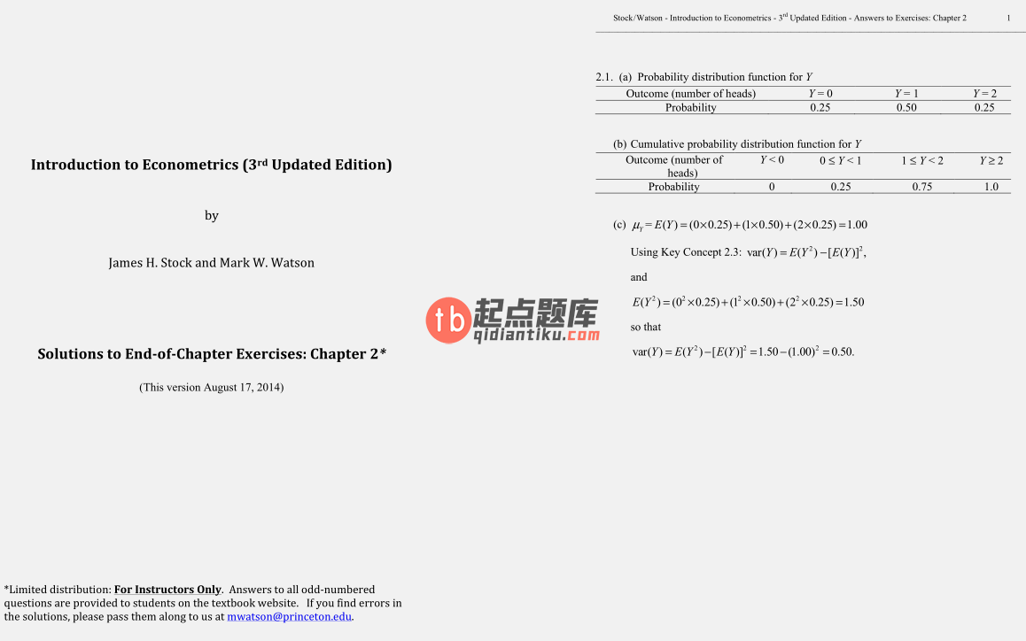 solution manual for Introduction to Econometrics 3rd Update Edition的图片 3