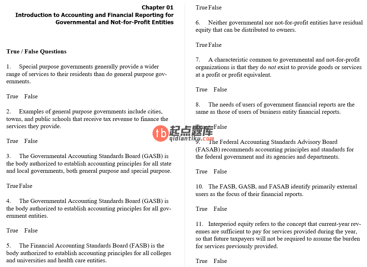 test bank for Accounting for Governmental & Nonprofit Entities 17th Edition的图片 3