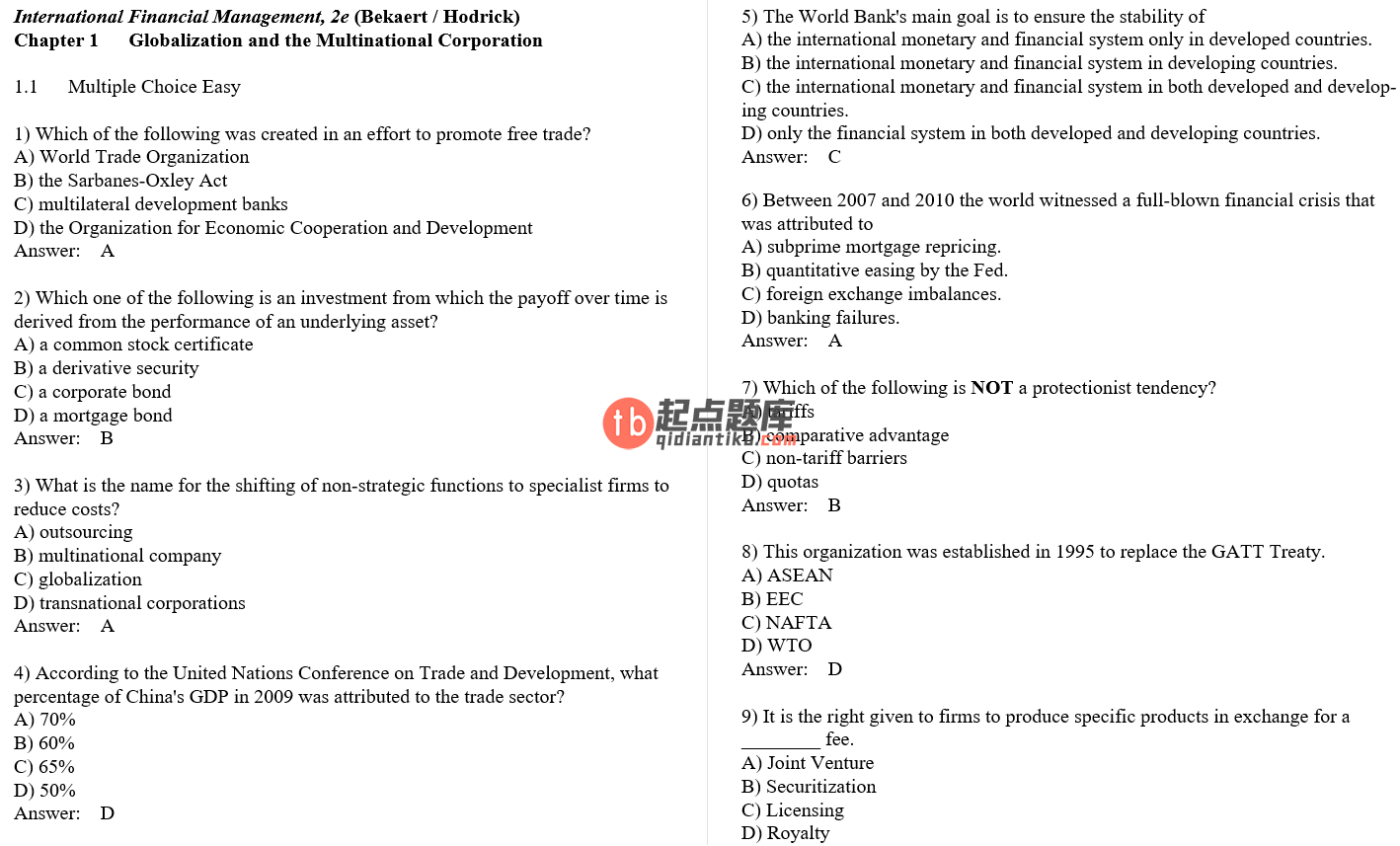 test bank for International Financial Management 2nd Edition的图片 3