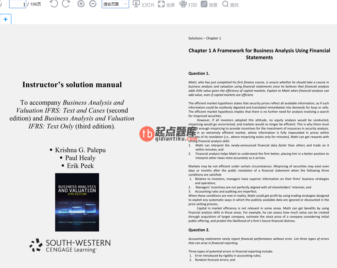 solution manual for Business Analysis & Valuation IFRS Text and Cases 3rd Edition的图片 3