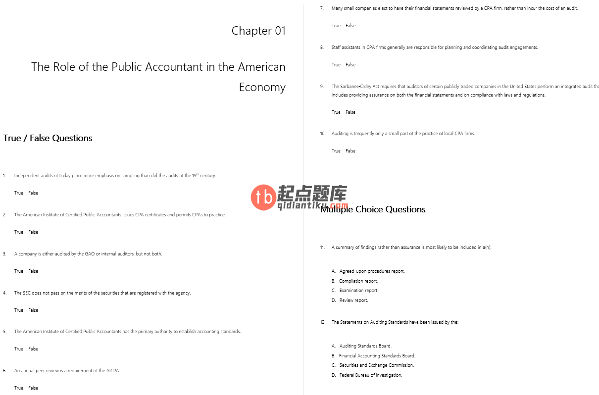 test bank for Principles of Auditing and Other Assurance Services 20th edition的图片 3