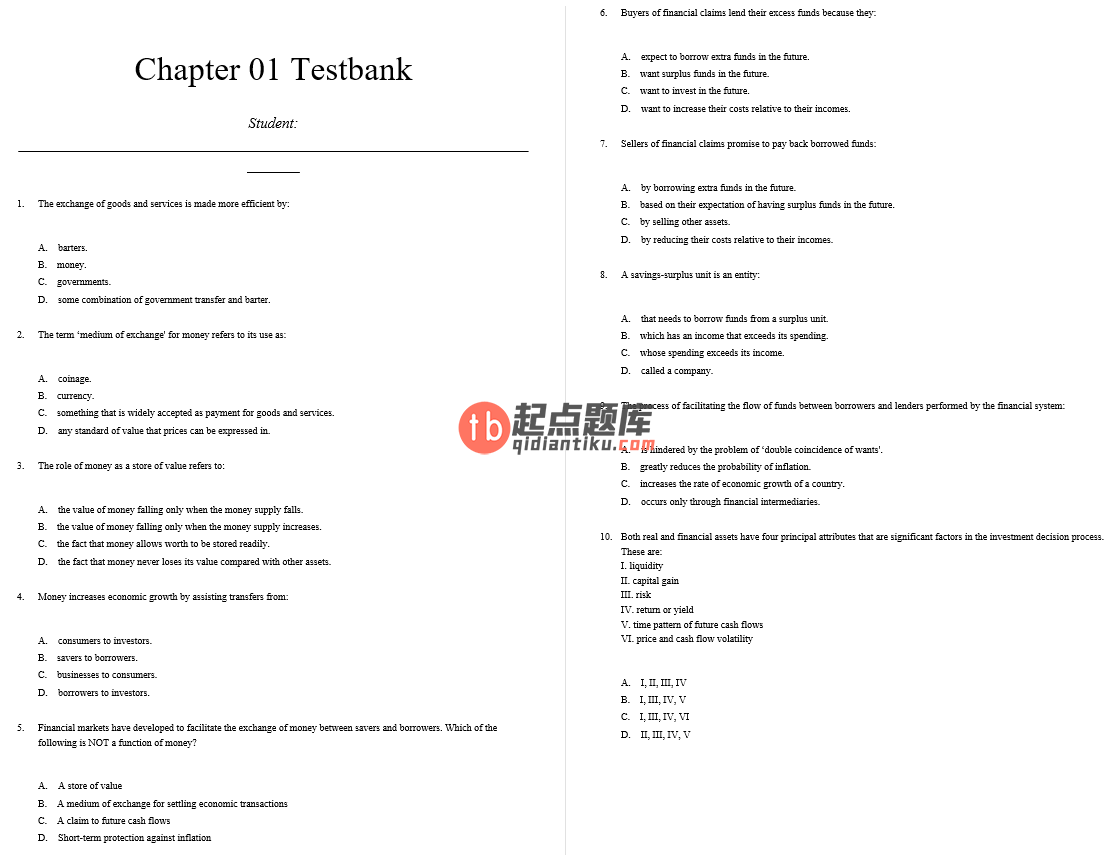 test bank for Financial Institutions Instruments and Markets 8th Edition的图片 3