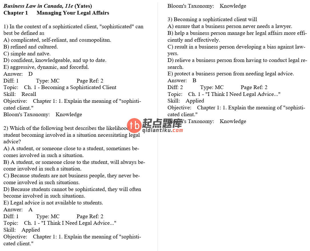 test bank for Business Law in Canada 11th Canadian Edition的图片 3