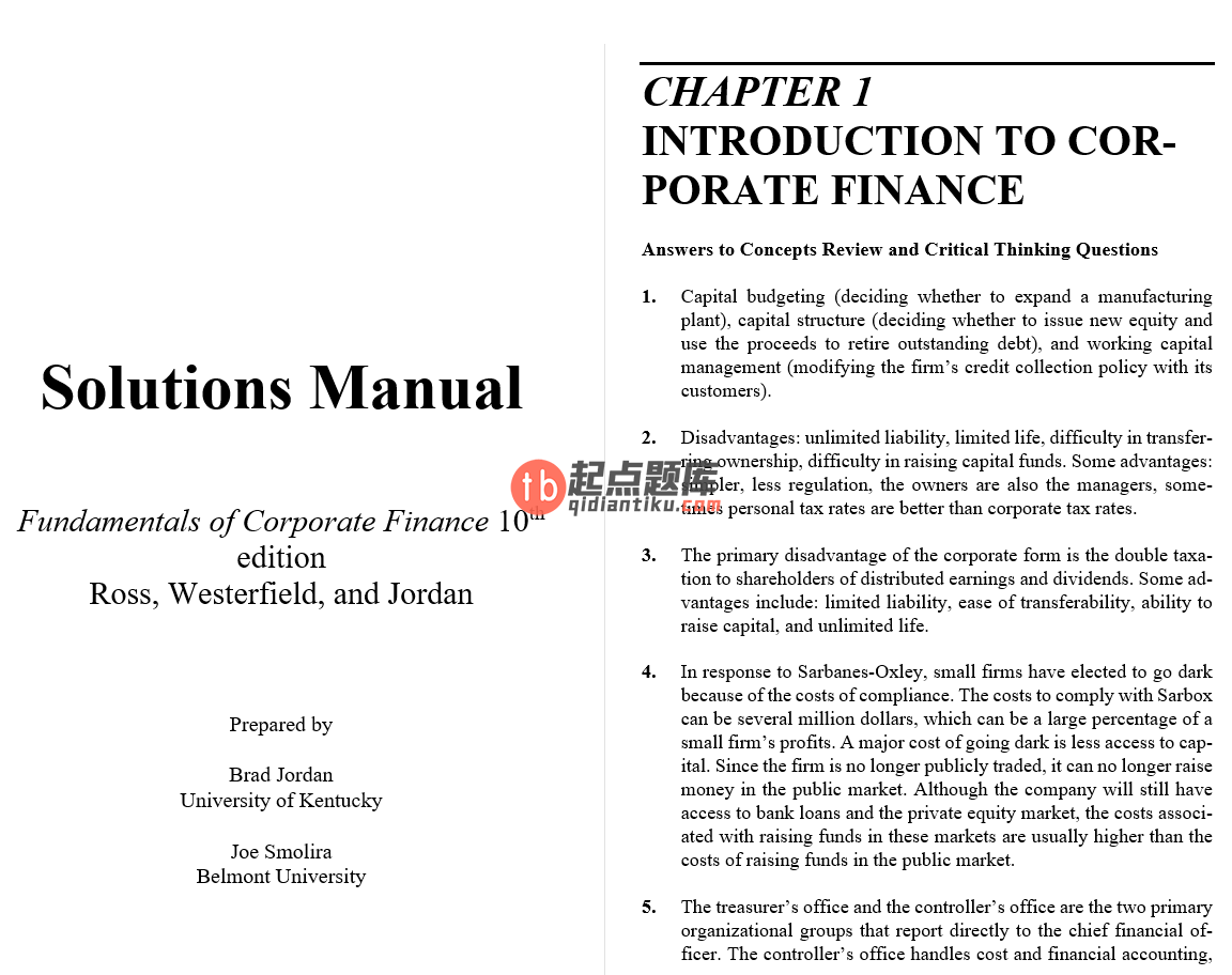 solution manual for Fundamentals of Corporate Finance 10th Alternate Edition的图片 2