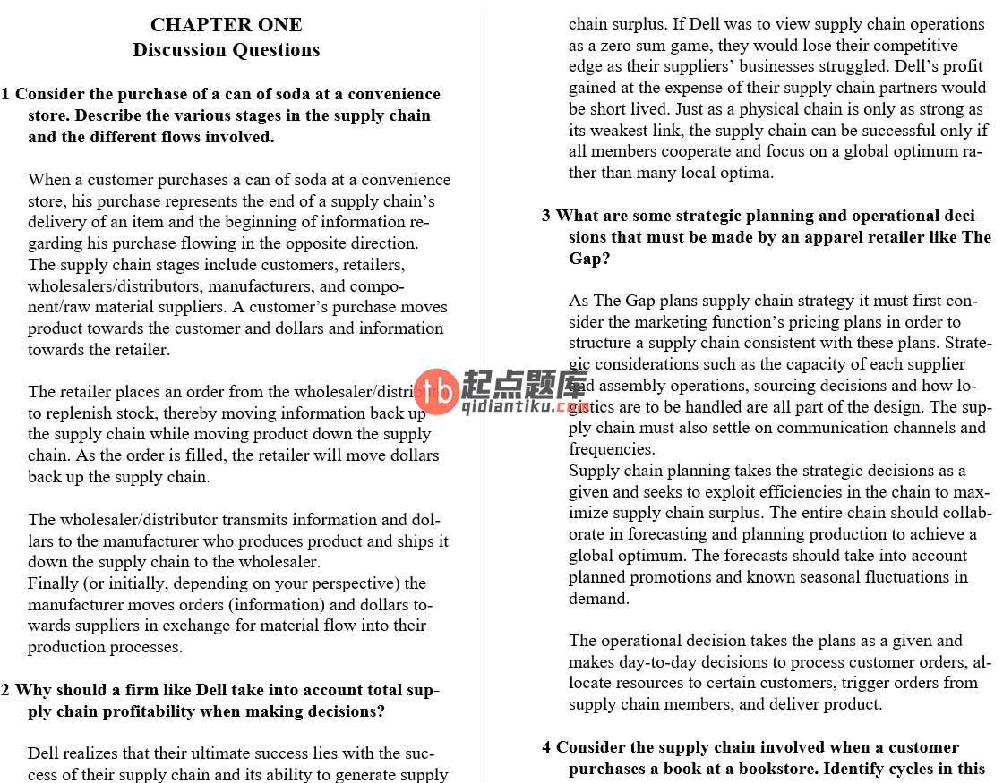 solution manual for Supply Chain Management 5th Edition的图片 3