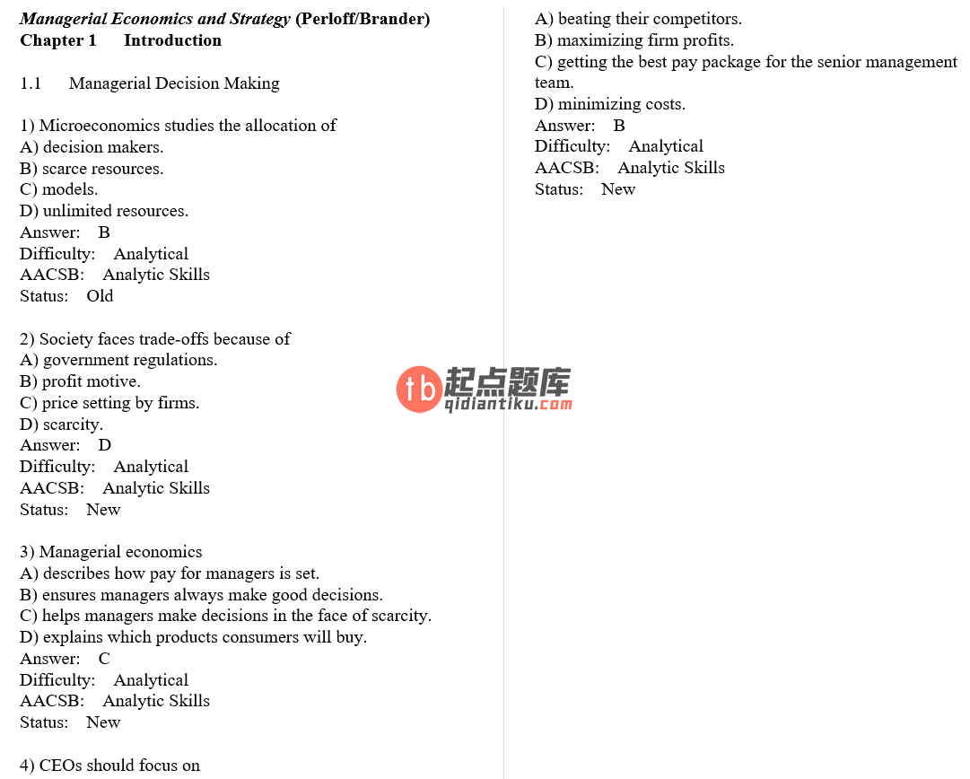 test bank for Managerial Economics and Strategy 1st Edition的图片 3