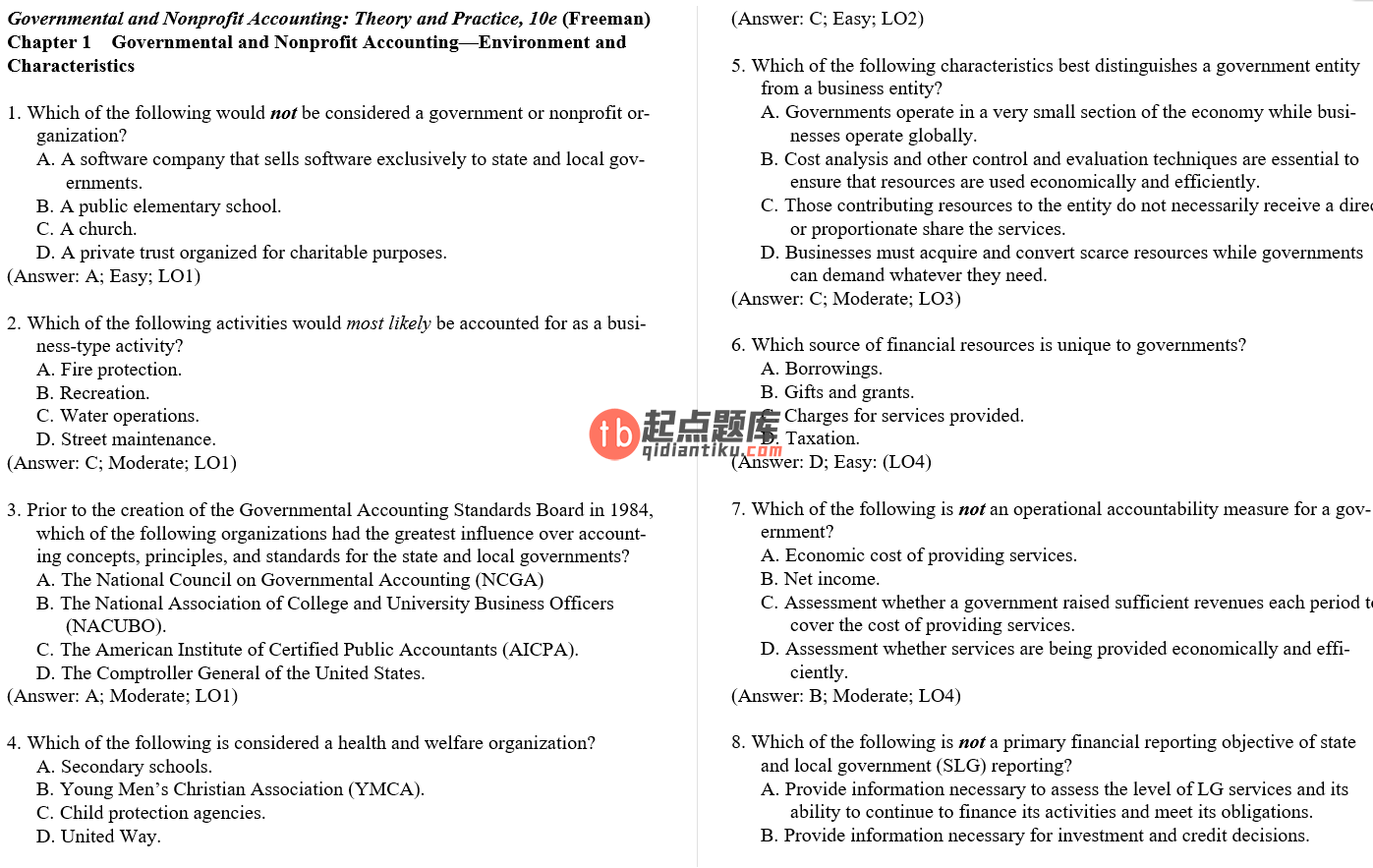 test bank for Governmental and Nonprofit Accounting 10th Edition的图片 3