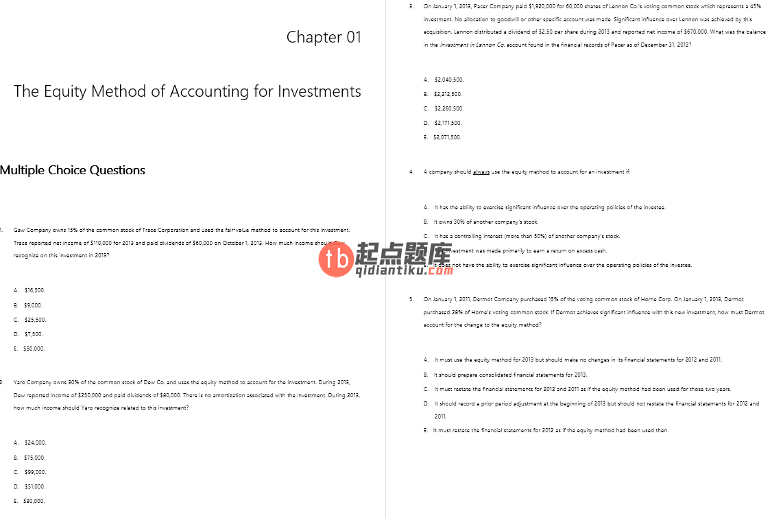 test bank for Advanced Accounting 12th Edition by Joe Ben Hoyle的图片 3