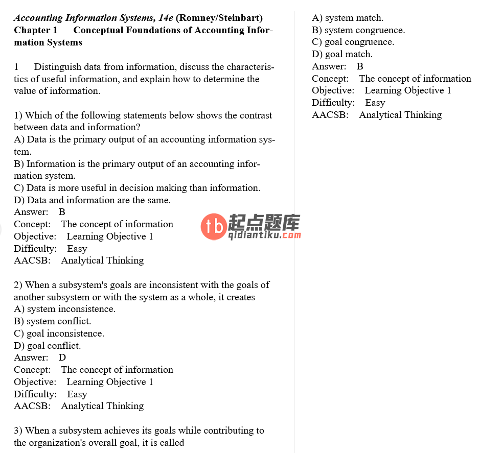 test bank for Accounting Information Systems 14th Edition的图片 3