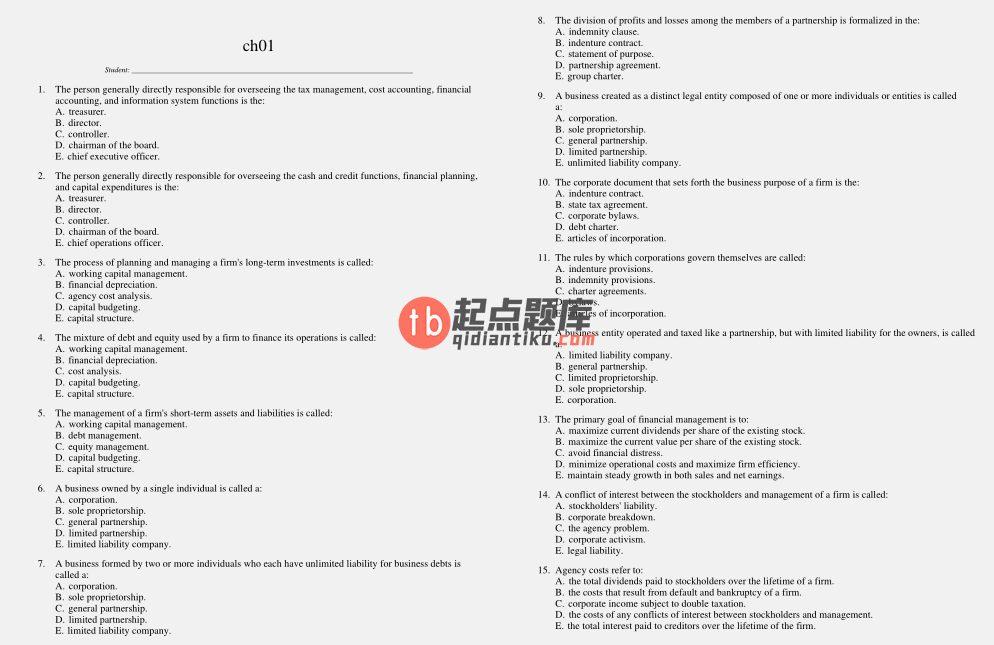 test bank for Corporate Finance 10th Edition的图片 3