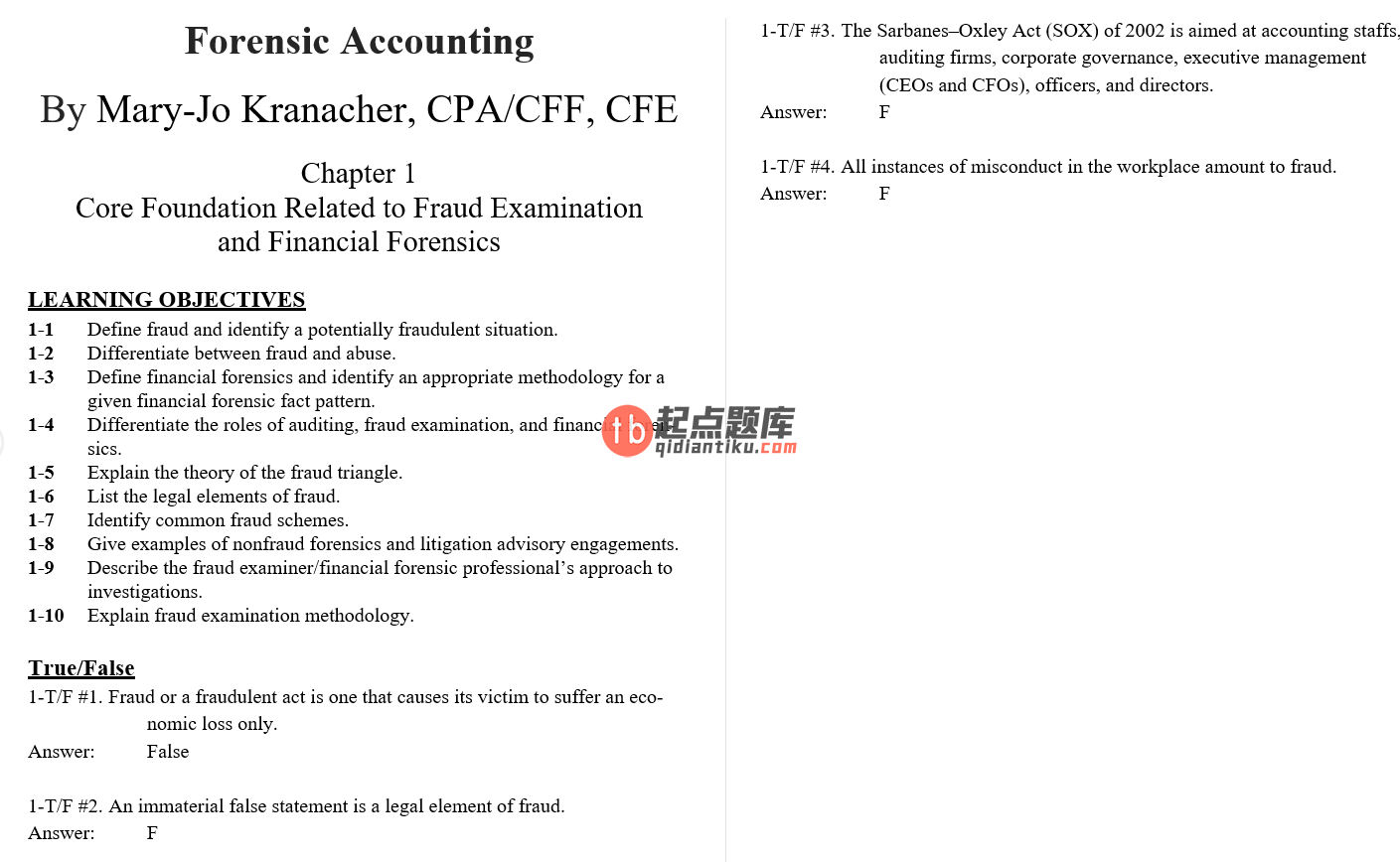 test bank for Forensic Accounting and Fraud Examination 1st Edition的图片 3