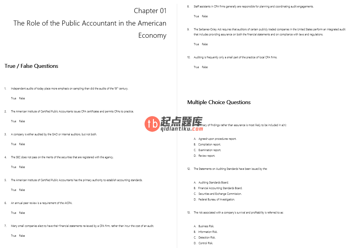 test bank for Principles of Auditing and Other Assurance Services 19th Edition的图片 3