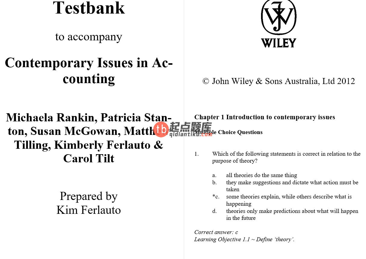 test bank for Contemporary Issues in Accounting 1st Edition的图片 3