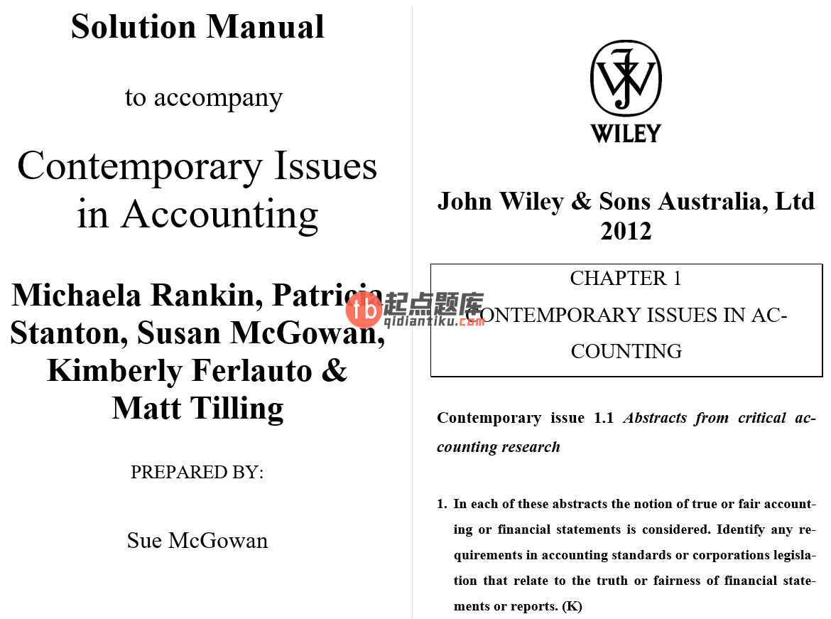 solution manual for Contemporary Issues in Accounting 1st Edition的图片 3
