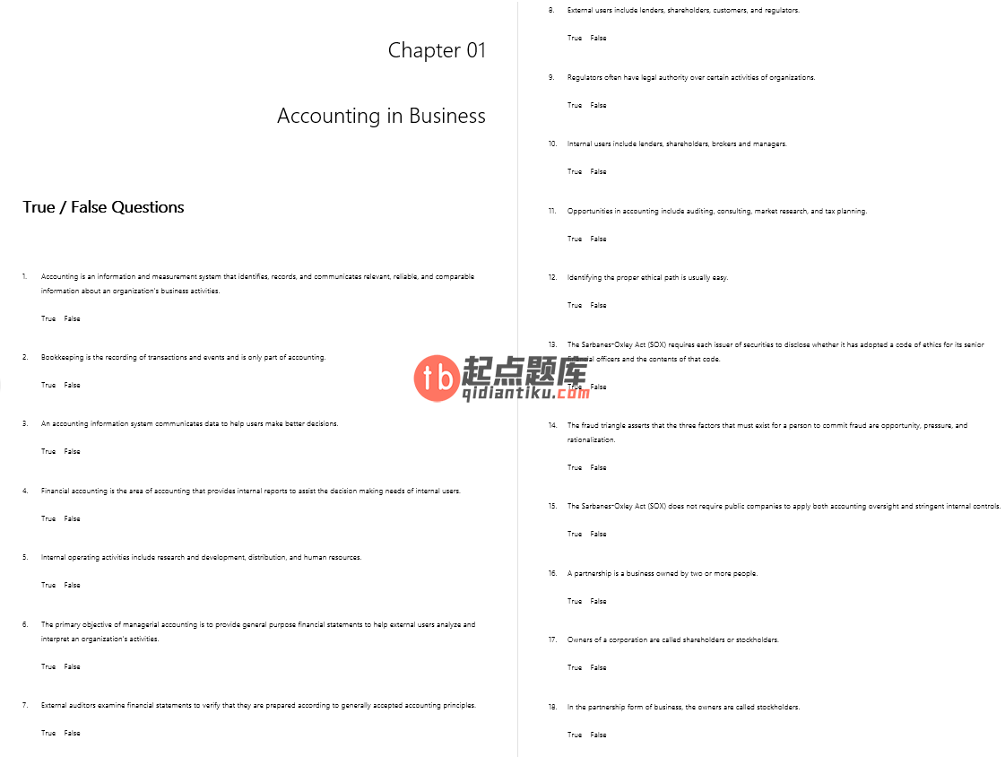 test bank for Fundamental Accounting Principles 22nd Edition的图片 3