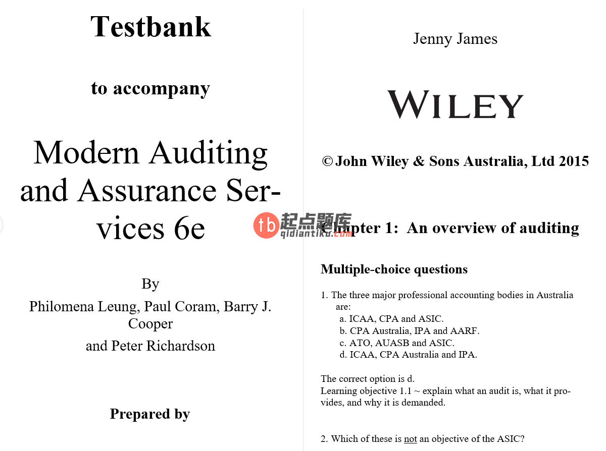 test bank for Modern Auditing and Assurance Services 6th edition的图片 3