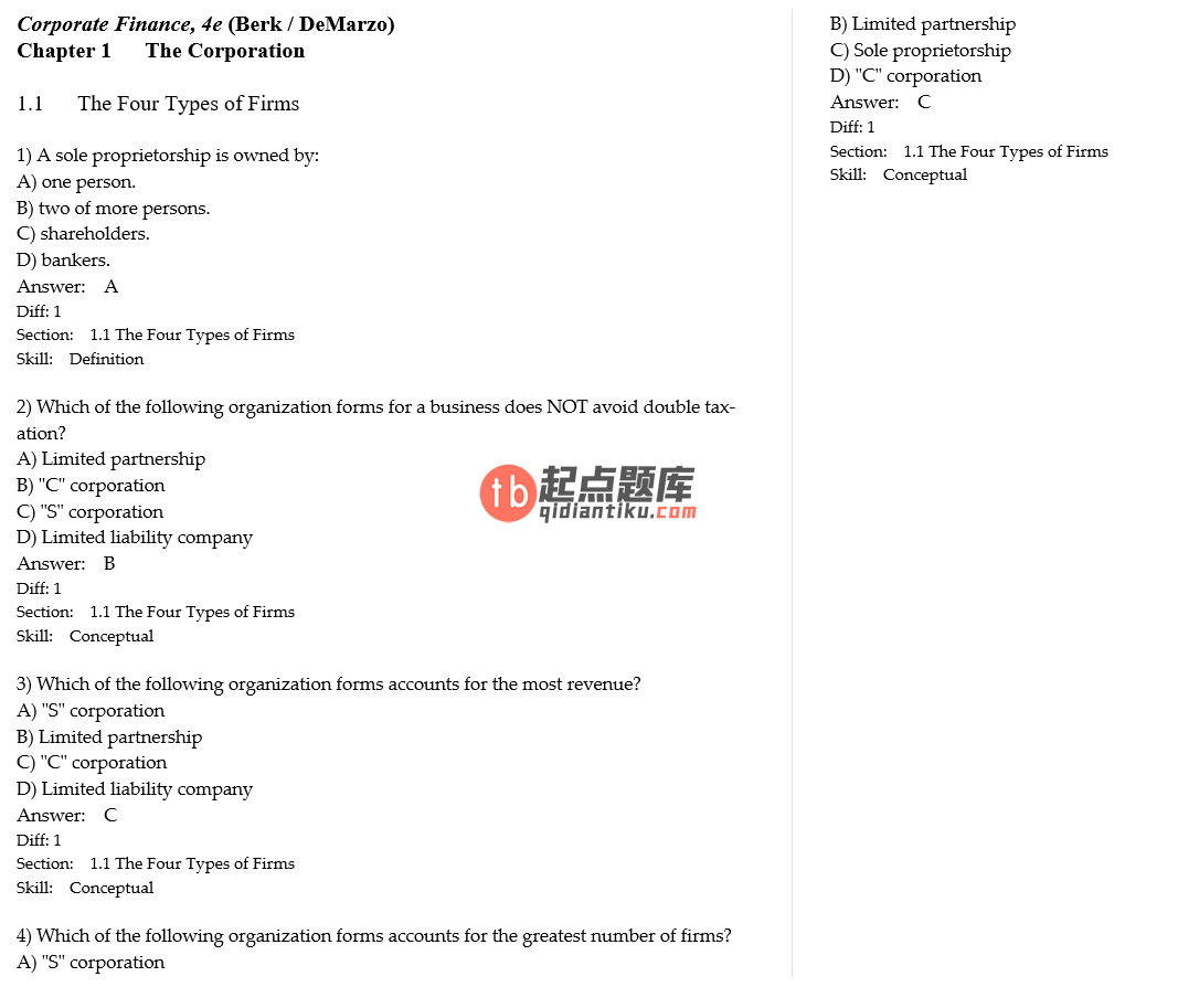test bank for Corporate Finance 4th Edition的图片 3