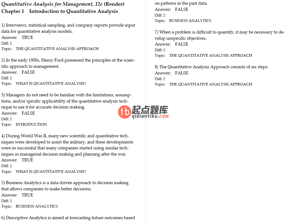 test bank for Quantitative Analysis for Management 12th Edition的图片 3