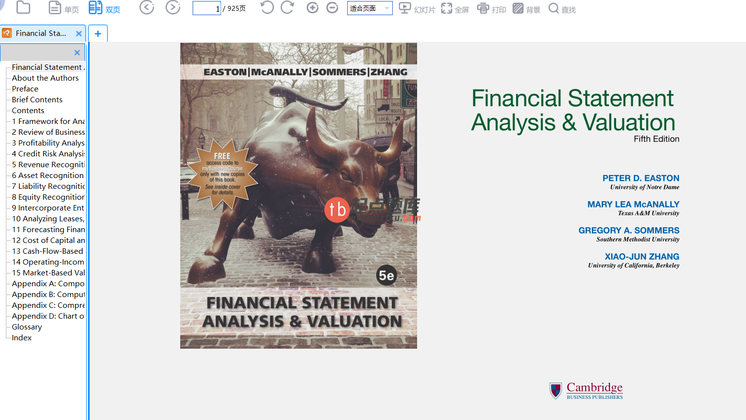 Financial Statement Analysis and Valuation 5th edition的图片 2