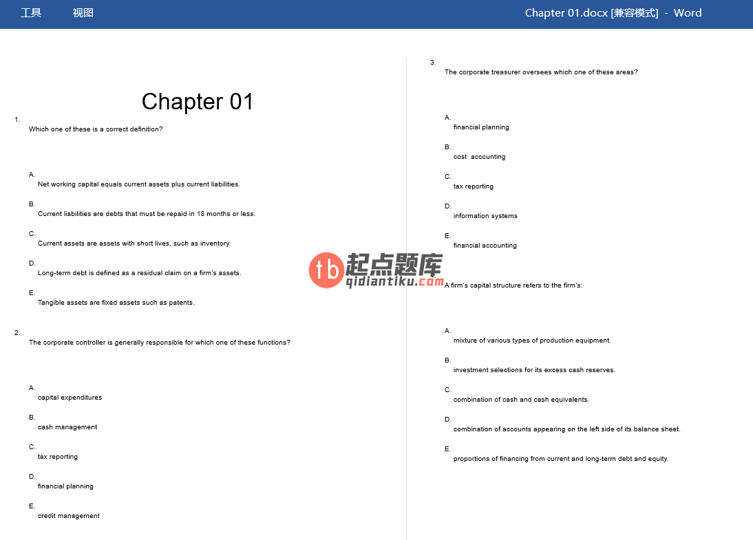test bank for Corporate Finance 11th Edition的图片 3