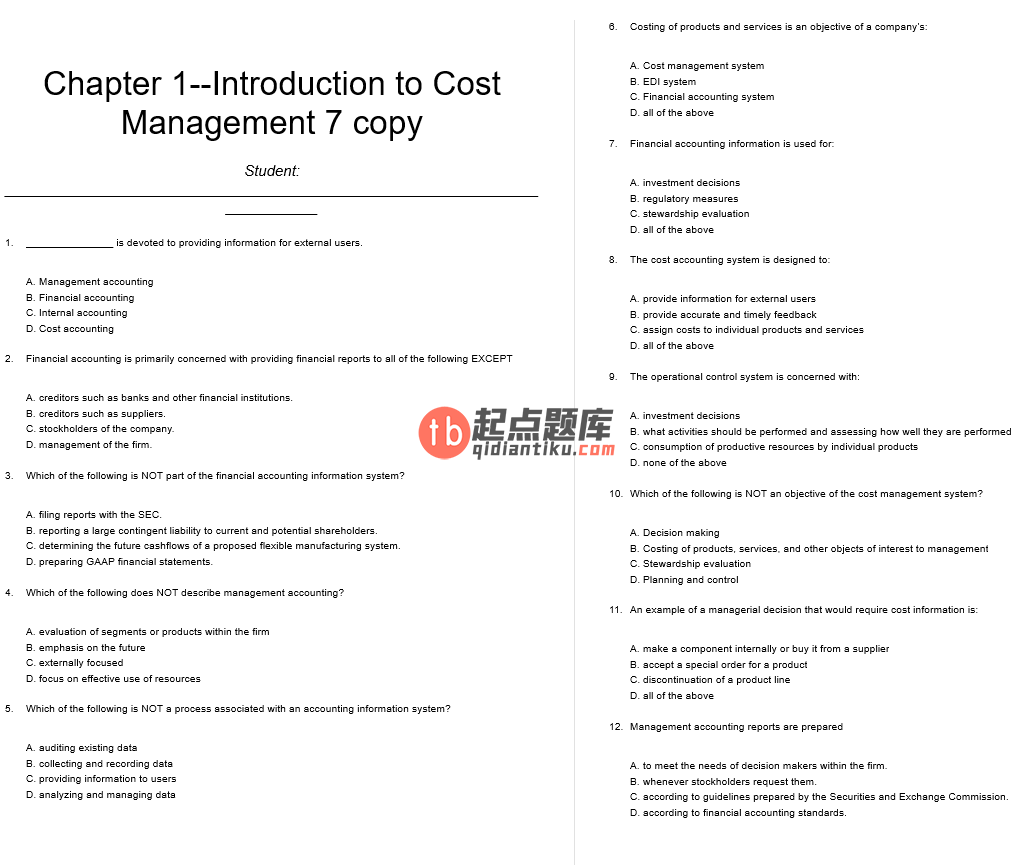 test bank for Cost Management: Accounting and Control 6th edition的图片 3