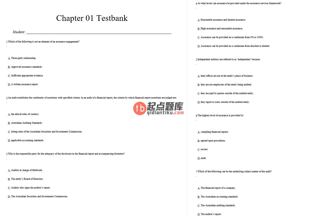 test bank for Auditing And Assurance Services In Australia 6th Edition的图片 3